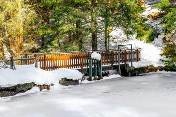Small bridge with snow in vosges landsape