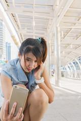 Selfie Pretty girl taking fun selfportrait