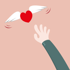 Heart flying away from hand