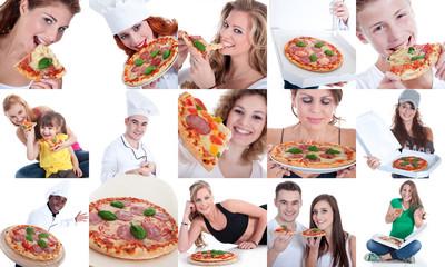 Pizza Collage mit verschiedenen Menschen
