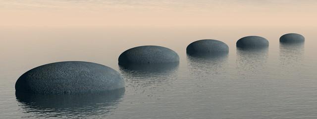 Steps on the ocean - 3D render
