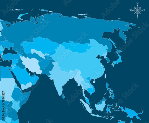 Asia Map - Vector Map of Asia with north arrow