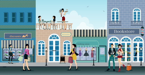 Shopping street Fotomurales