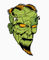 Illustration of zombie head.
