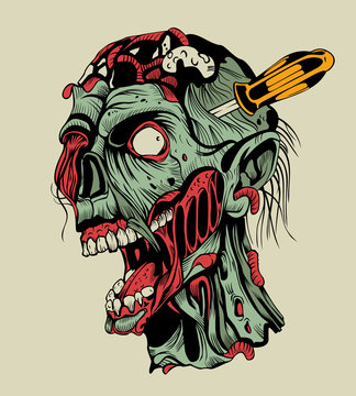 Zombie head with a screwdriver.