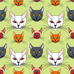 Seamless pattern with various colored cats