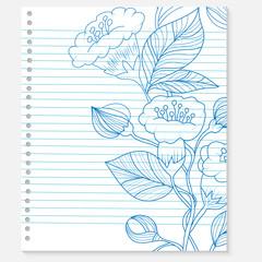 sketch of a flower on notebook sheet