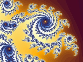 Graceful fractal spiral in a blue - yellow colors