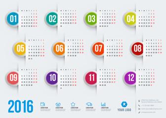 Calendar 2016. Week starts Monday