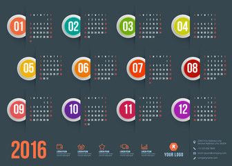 Calendar 2016. Week starts Sunday