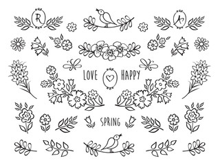The set of hand drawn decorative elements for your design.