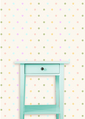 Vintage mint wooden chest drawer near vintage dots wall