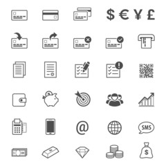 Finance and banking line style vector icon set
