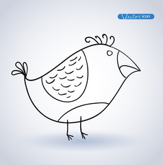 Bird hand drawn. vector illustration.