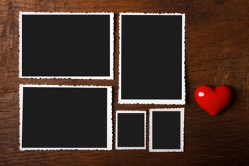 Blank old photos with red heart
