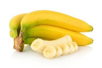 Bunch of bananas with slices on white background