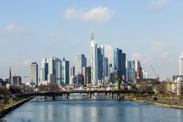 Summer view of the financial district in Frankfurt