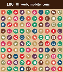 100 UI Outline For Web and Mobile icons.