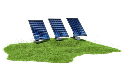 3d illustration section of grass with solar panels isolated on w
