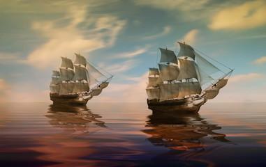 Fotobehang Schip Sailboat against beautiful sunset landscape