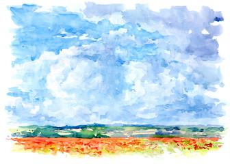 Landscape, watercolor.