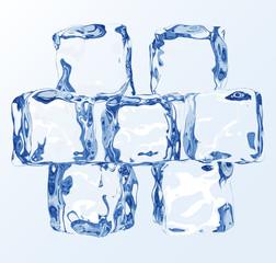 Clear transparent vector ice blocks