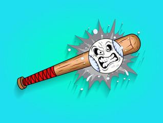 Retro Baseball and Bat Mascot Vector