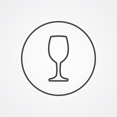 wineglass outline symbol, dark on white background, logo templat