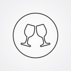 wineglasses outline symbol, dark on white background, logo templ