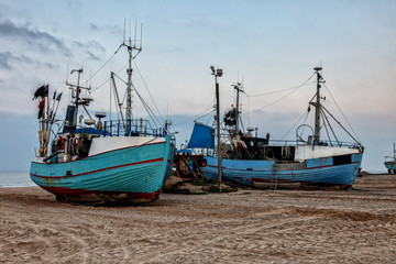 Fishing boats at Thorup beach on the Danish North Sea coast