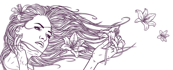 Beautiful girl with long hair and lily flowers.