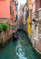 Foto auf AluDibond Venedig Canal with gondolas in Venice, Italy