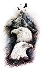Two eagles among mountains. Graphic drawing.