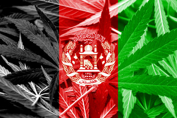 Afghanistan Flag on cannabis background. Drug policy.