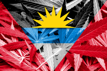 Antigua and Barbuda Flag on cannabis background. Drug policy.