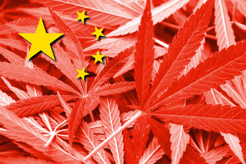 China Flag on cannabis background. Drug policy.