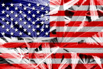 USA Flag on cannabis background. Drug policy.