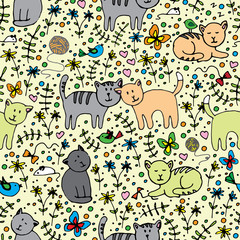 seamlessly pattern with cats