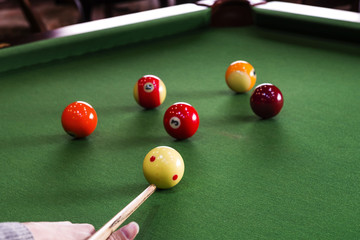 Carom billiards straight single shot