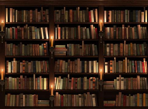 Bookshelf. Seamless texture (vertically and horizontally)