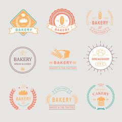 Vintage Retro Bakery Badges,Labels, logos . Bread, loaf, wheat