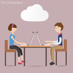 Two people in co working space  and cloud concept
