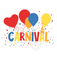 Carnival Sign with Balloons, Mask and Confetti,   Illustration