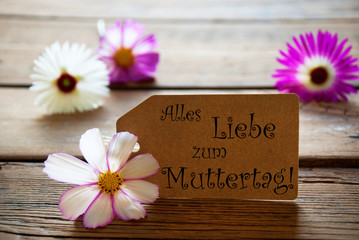 Label With Alles Liebe Zum Muttertag With Cosmea Blossoms