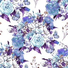 Seamless Watercolor Background with Roses