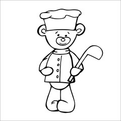 Outlined bear cook toy. Isolated on white background