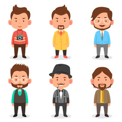 Men avatars in different outfits