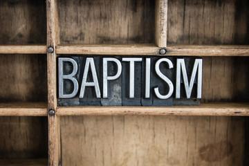 Baptism Concept Metal Letterpress Word in Drawer