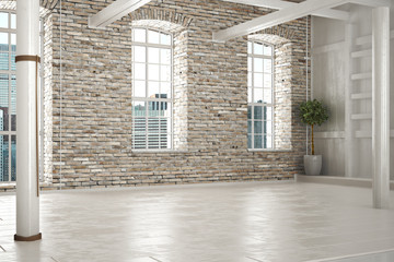 empty room of businessor residence with brick interior