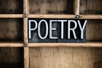 Poetry Concept Metal Letterpress Word in Drawer